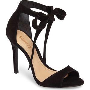 Schutz Rene Suede Ankle Bow Tie Black Sandal Pump